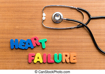 heart failure colorful word on the wooden background