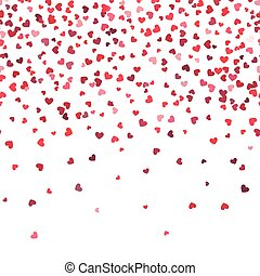 Heart fall vector background. Love and valentine day or wedding horizontal pattern with falling hearts