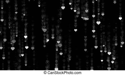 Heart falling rain black background