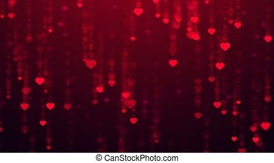 Heart falling rain color background