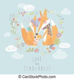 heart., famille, père, renard, mère, forme, bébé, child., aimer
