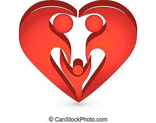 Heart family shape symbol logo