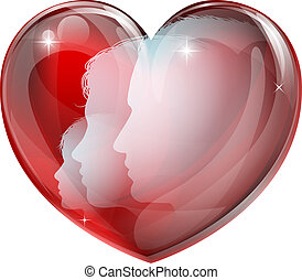 Heart family silhouettes