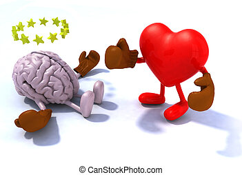 Heart fighting brain, 3d cartoon with boxing gloves