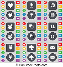 Heart, Film camera, Web cursor, Videotape, Copy, Quotation mark, Mouse, Umbrella, Message icon symbol. A large set of flat, colored buttons for your design.