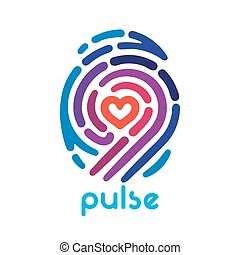 Heart finger print - Colorful pulse fingerprint logo with...