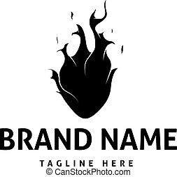 Heart Fire Abstract Black vector logo design