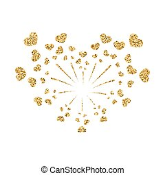Heart firework gold vector isolated
