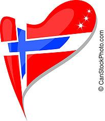 heart., flag., εθνικός , μικροβιοφορέας , νορβηγία , εικόνα