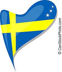 heart., flag., εθνικός , σουηδία , μικροβιοφορέας , εικόνα
