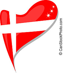 heart., flag., nacional, vector, dinamarca, icono