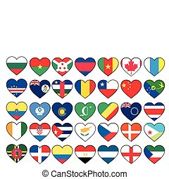 heart flags set