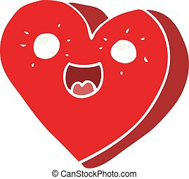 heart flat color style cartoon character