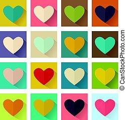 Heart, flat design, square set buttons