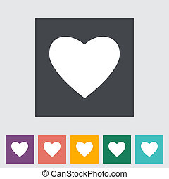 Heart flat icon, white silhouette. Vector illustration.