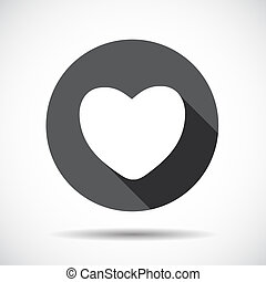 Heart  Flat Icon with long Shadow. Vector Illustration.