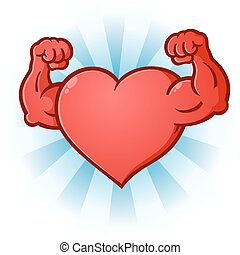 A sexy red heart cartoon character posing like a body builder with flexed muscles