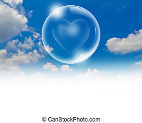 Heart floating in a bubble in the sky