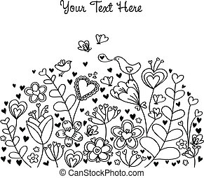 Floral background with hearts and birds. Individual elements are easily editable.