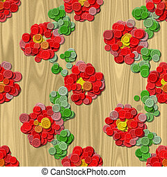 Heart flower sewing buttons seamless generated background