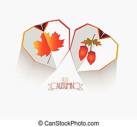 heart., foglie, creativo, autunno, carta, fondo, felice