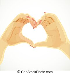 Heart folded from beautiful female hands isolated on white background
