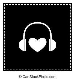 heart., fones, isolado, remendo, experiência., pretas, branca