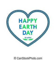 Heart for Earth Day. Vector illustration