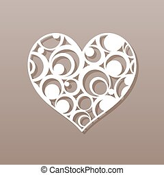 Heart for laser cutting. A round pattern. Vector ...