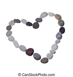 Heart form frame of colored sea stones on a white background