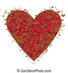 heart., forma abstrata, vetorial, música, fundo, notas