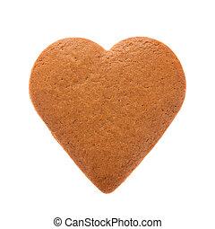 heart., forma, aislado, fondo., mantecada, pan de jengibre, blanco, cocido al horno