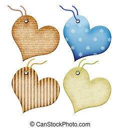 heart., forma, etiquetas obsequio