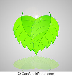 heart., forma, foglie, sfondo verde, fresco