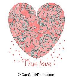 heart., forma, onu, retro, organizado, flores