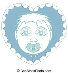 heart., forma, quadro, filho, bebê recém-nascido, retrato, pacifier.