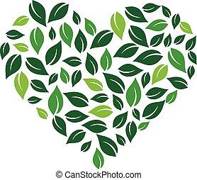 Heart formed by leaves. Vector logo design