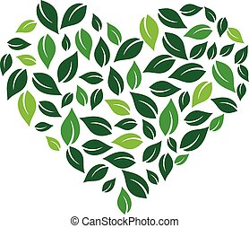 Heart formed by leaves. Vector logo design
