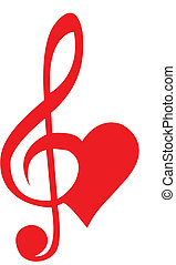 Heart formed of treble clef