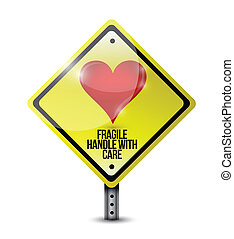 heart fragile handle with care sign illustration design over a white background