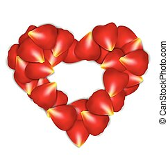 Heart Frame From Red Rose Petals on white background