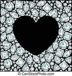 Heart frame made of diamonds on black background
