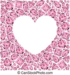 Heart frame made of pin gemstones on white background