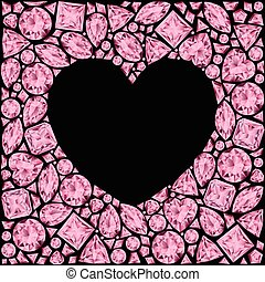 Heart frame made of pink gemstones on black background
