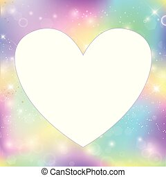 Heart frame magic background with rainbow mesh