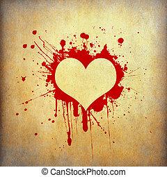 Heart frame of red blood splash on old grunge paper