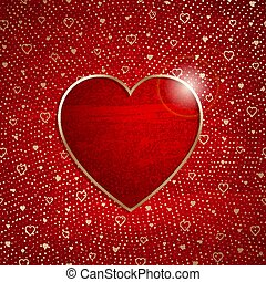Heart frame on a red grunge texture