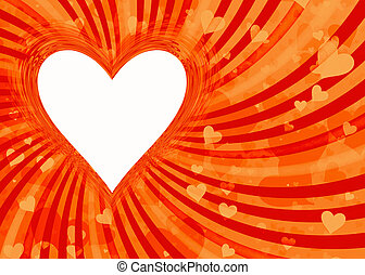 heart frame on sun rays backgrounds with clipping path