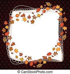 Heart frame shaped autumn leaves