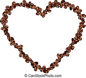 Heart frame shaped coffee beans